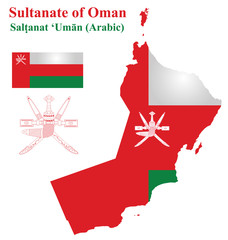 Flag and national coat of arms Sultanate of Oman