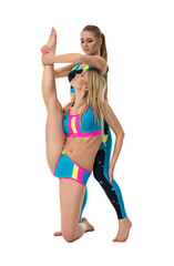 Studio shot of girl helps her friend stretching