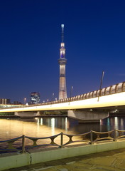 Tokyo Sky tree and Sumida river in evening