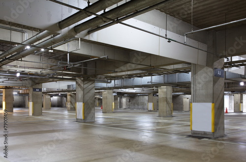 Parking garage underground interior, neon lights in dark . - 79001459