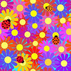 Seamless ladybugs and flowers.
