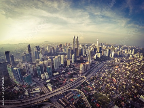 Poster kuala lumpur city from aerial view