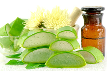 Slice Aloe Vera herbal medicine for skin treatment.