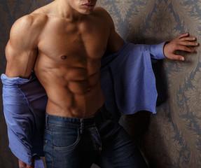 Muscular body of male model.