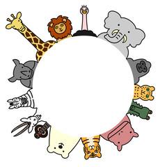 野生動物 円 コピースペース カラー