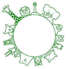 野生動物 円 コピースペース ライン