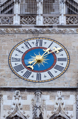 The clock of New City Hall in in Marienplatz, Munich, Germany
