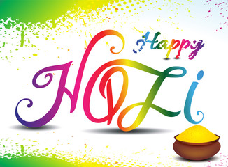 happy holi tex background with color bowl