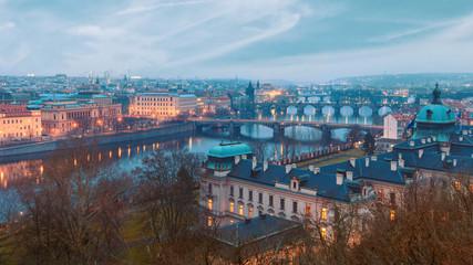 View over Prague river and bridges