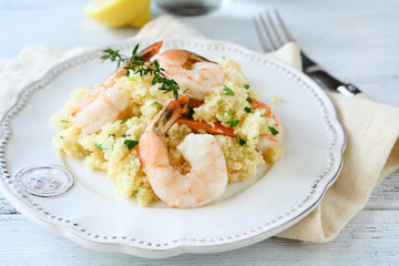 Tasty couscous with shrimp