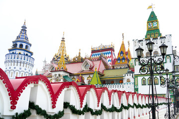 Beautiful view of kremlin in Izmailovo, Moscow, Russia