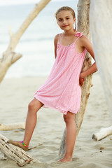 Summer vacation. Portrait of  fashion girl on the beach.