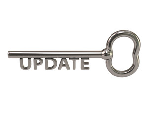 Silver key with word update
