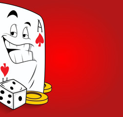 Happy Cartoon Ace Card with Gaming Dice