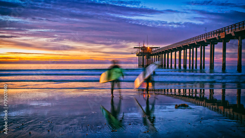 beach sunset with surfers and pier, La Jolla, San Diego, CA - 79007840