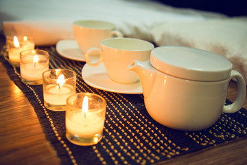 Tea ceremony with candles