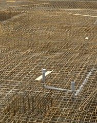 Metal rod mounting on construction site