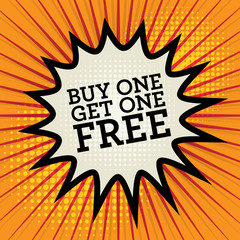 Comic explosion with text Buy One, Get One Free, vector