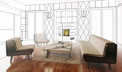Apartment with a Fireplace (drawing)