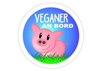 Veganer an Bord - Sticker / Autoaufkleber - Schwein