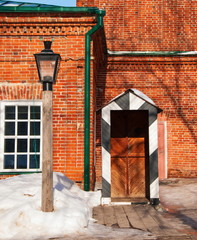 Ancient Simbirsk (Ulyanovsk). Gas lamp and booth policeman