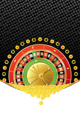 Background with roulette and coins