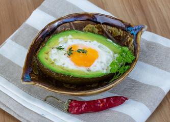 Egg backed in avocado