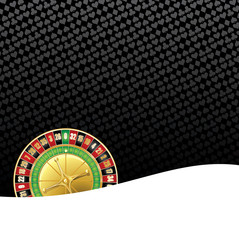 Stylized gambling background with roulette wheel