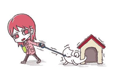 散歩を拒む犬