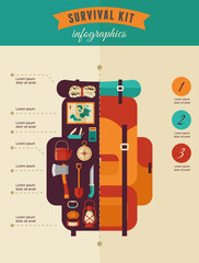 Hiking and camping concept - survival kit infographics