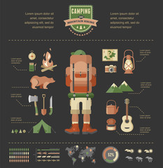 Hiking and camping equipment  - icon set and infographics