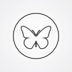 butterfly outline symbol, dark on white background, logo templat