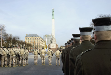 Parade of National armed forces at Freedom monument in Riga