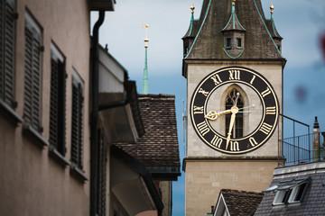Clock tower in Zurich, Switzerland