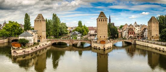 Panorama gedeckte Brücken in Straßburg
