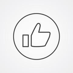 ok outline symbol, dark on white background, logo template.