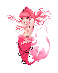 Young mermaid in pink