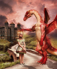 Dziewczynka i smok na drodze do zamku