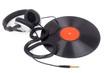 canvas print picture - Kopfhörer liegen über eine Schallplatte