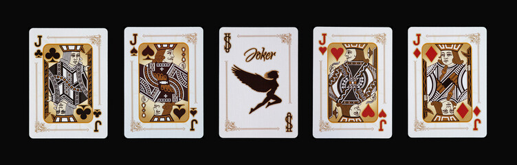 Spielkarten - Poker - Buben Vierlinge im Spiel