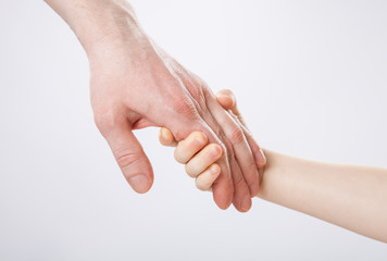 Child holding father's hand, closeup shot on grey background