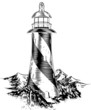 Woodblock style lighthouse - 79013643