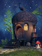 Kolorowy domek z żołędzia nocą