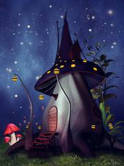 Zaczarowana chatka z grzyba na tle nocnego nieba