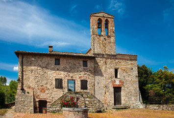Old rural church in the small town in Tuscany, Italy