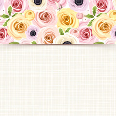 Card with colorful roses, lisianthus and anemone flowers.