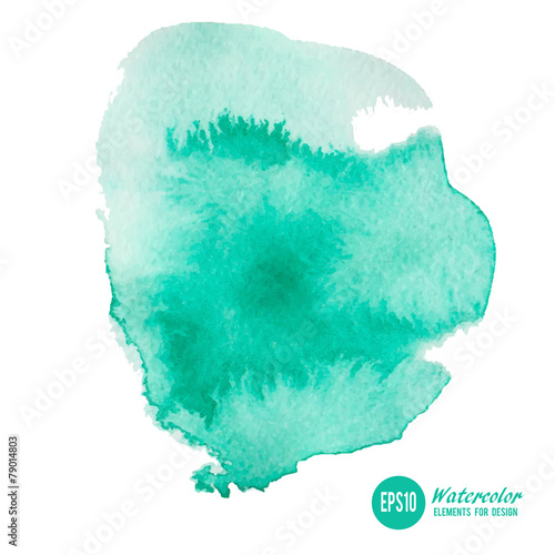 Watercolor paint stain painted with brush on paper, vector illus