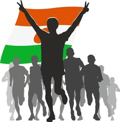 Athlete with the Niger flag at the finish