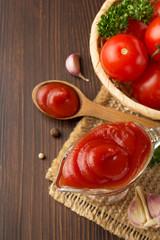 tomato sauce on wood