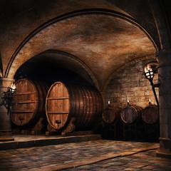 Piwnica na wino z beczkami
